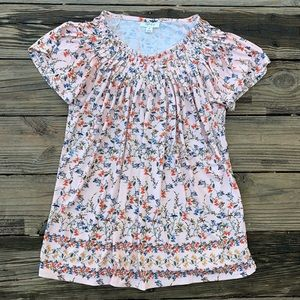 Style & Co Soft Pink Floral Pleated Blouse Size M